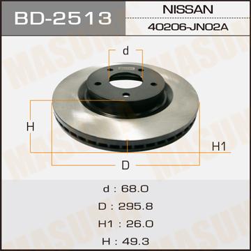 Диск тормозной MASUMA front TEANA/ J32Z (упаковка 2 шт). (BD-2513)