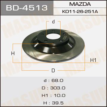 Диск тормозной MASUMA rear CX-5 (упаковка 2 шт). (BD-4513)