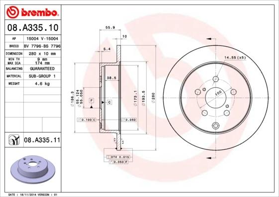 Диск тормозной 08.A335.10. Brembo (08A33510)