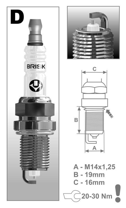 Свеча зажигания ГАЗ двиг.405 ЕВРО-3 (к-т 4 шт.) DR17YS SILVER LPG BRISK (1351) DR17YS-N