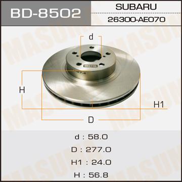 Диск тормозной MASUMA front FORESTER/ S11 (упаковка 2 шт). (BD-8502)