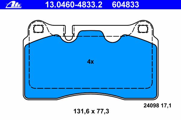 К-КТ КОЛОДКИ ПЕР VW TOUAREG 2.5 R5/3.0 V6/4.2 V8/5.0 V10/6.0 W12 02- БЕЗ ДАТ. Ate (13046048332)