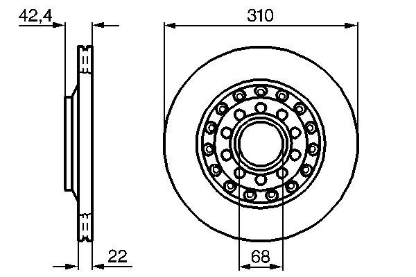 ТОРМОЗНОЙ ДИСК ЗАДНИЙ AUDI A8, S8 (ABZ, AFB, AK*, AQ*, BBJ, BPK), WV (AYT, BGJ, BKL, CARA). Bosch (0986479062)
