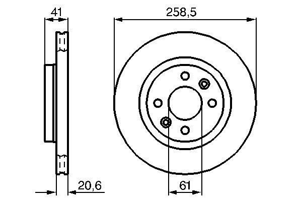 ТОРМОЗНОЙ ДИСК ПЕРЕДНИЙ. Bosch (0986478124)