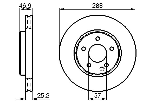 ТОРМОЗНОЙ ДИСК ПЕРЕДНИЙ. Bosch (0986478624)