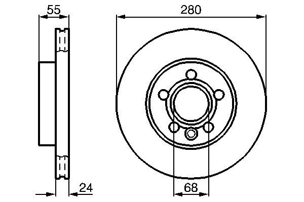 ТОРМОЗНОЙ ДИСК ПЕРЕДНИЙ. Bosch (0986478846)