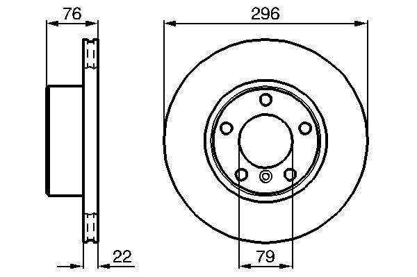 ТОРМОЗНОЙ ДИСК ПЕРЕДНИЙ BMW (204D1, 206S*, 226S*, 256D1, 256S*, 256T*, 286S*). Bosch (0986478848)