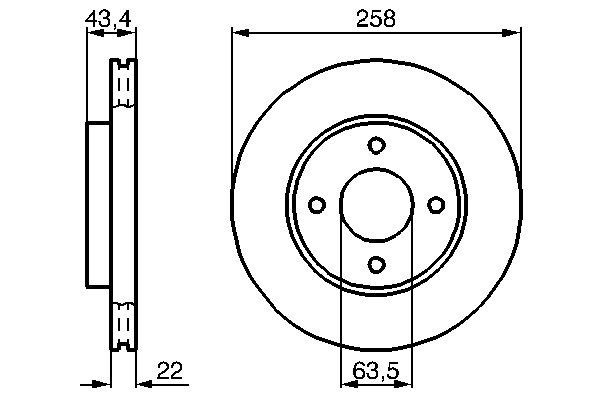 ТОРМОЗНОЙ ДИСК ПЕРЕДНИЙ (Ford JV,JA,J3, JH, JD, DFW, DNW, DAW, DBW, RB, EC). Bosch (0986478892)
