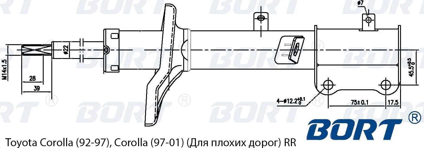 Автозапчасть/Стойка амортизационная газомасляная задняя правая. BORT (G22250021R)
