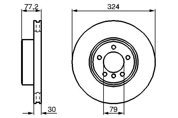ТОРМОЗНОЙ ДИСК ПЕРЕДНИЙ. Bosch (0986479115)