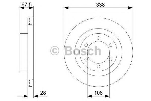 ТОРМОЗНОЙ ДИСК ПЕРЕДНИЙ. Bosch (0986479304)