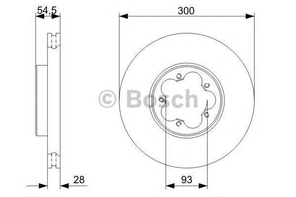 ТОРМОЗНОЙ ДИСК ПЕРЕДНИЙ. Bosch (0986479307)