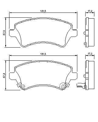 ТОРМОЗНЫЕ КОЛОДКИ ПЕРЕДНИЕ. Bosch (0986424735)