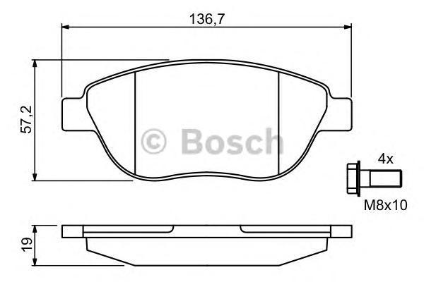 ТОРМОЗНЫЕ КОЛОДКИ ПЕРЕДНИЕ. Bosch (0986494038)