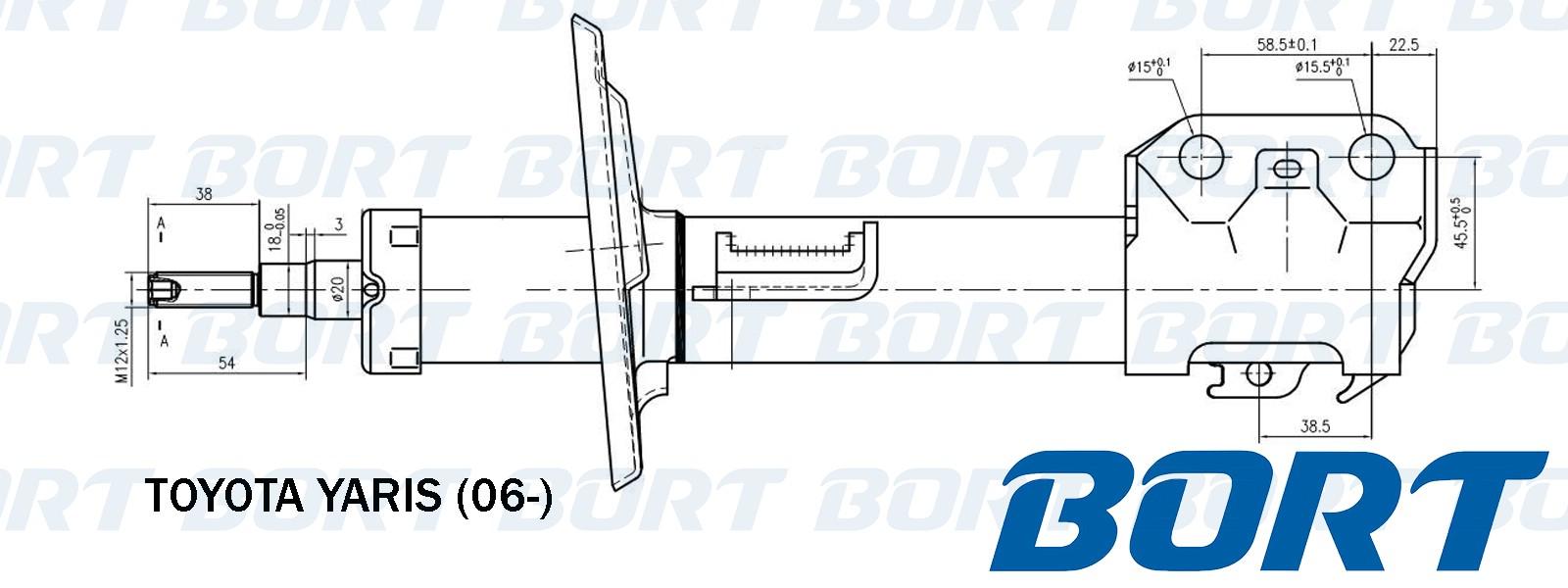 Стойка амортизационная газомасляная передняя левая. BORT (B339065)
