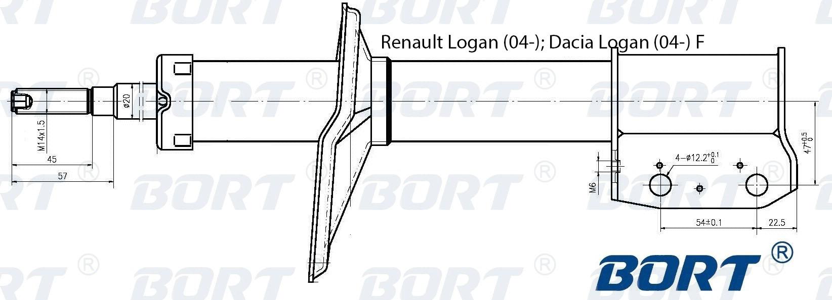 Амортизатор газомасляный передний. BORT (G22045110)