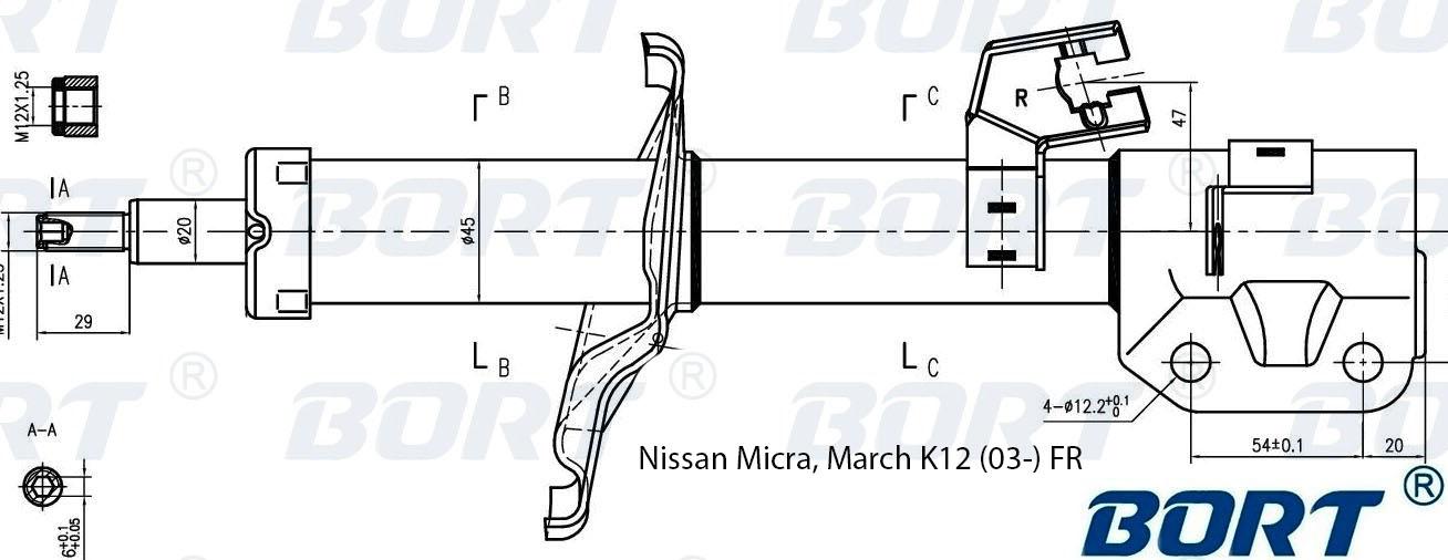 Стойка амортизатора передняя правая газомаслянная. BORT (G22045188R)