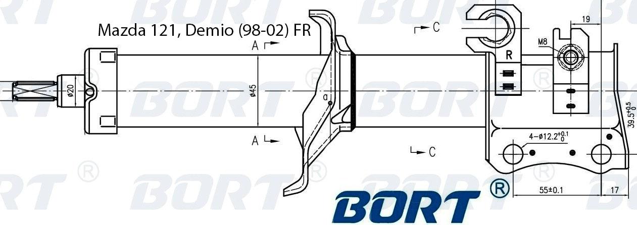 Стойка амортизатора передняя правая газомаслянная. BORT (G22045189R)
