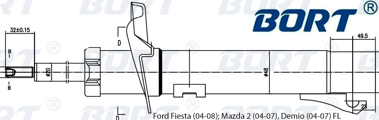 Стойка амортизационная газомасляная передняя левая. BORT (G22048028L)