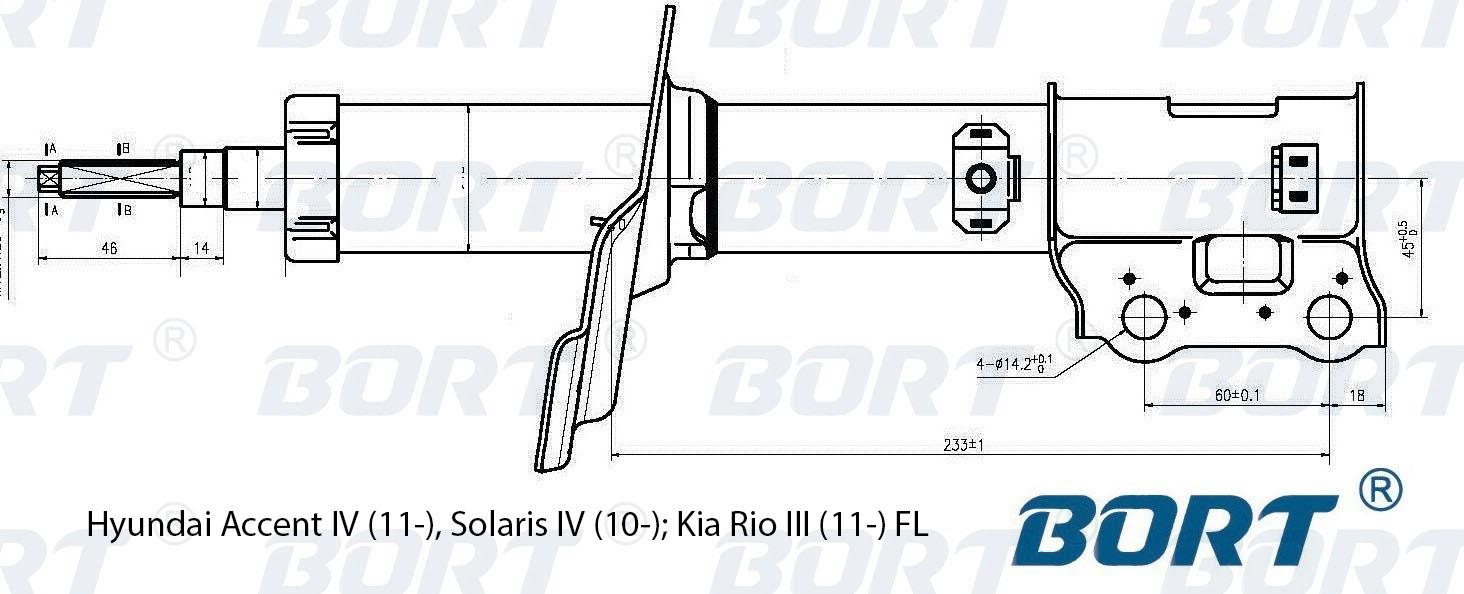Стойка амортизатора передняя газомасляная левая. BORT (G22048038L)