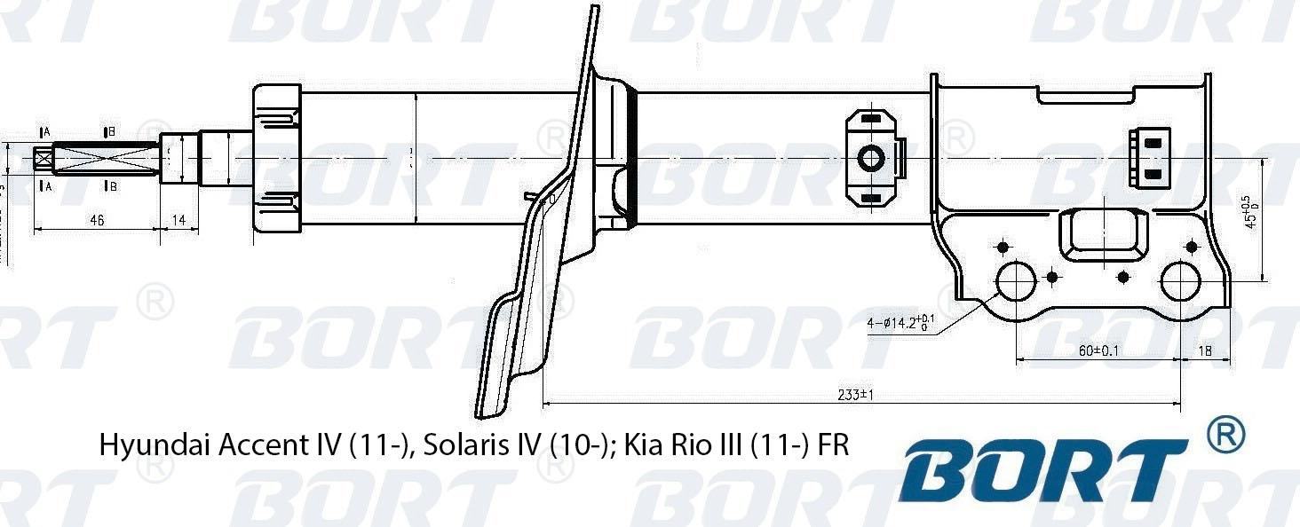 Стойка амортизатора передняя газомасляная правая. BORT (G22048038R)