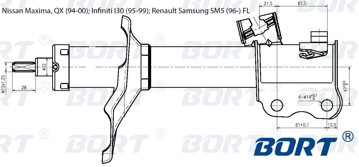 Стойка амортизационная газомасляная передняя левая. BORT (G22250010L)