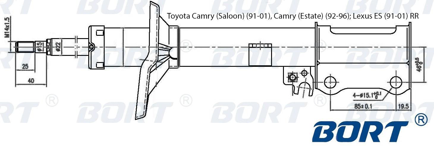 Стойка амортизационная газомасляная задняя правая. BORT (G22250034R)