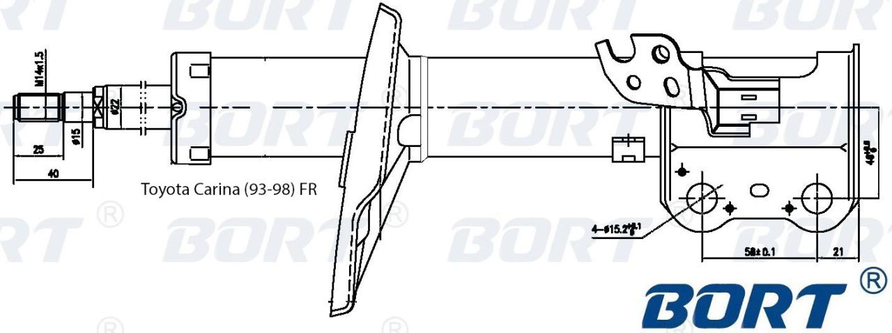 Стойка амортизационная газомасляная передняя правая. BORT (G22250057R)