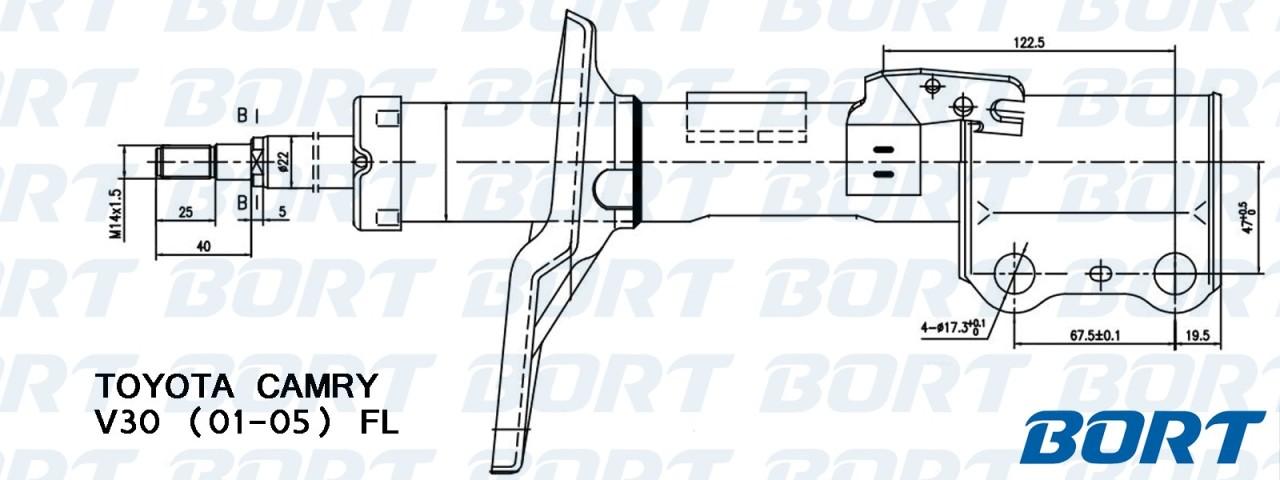 Стойка амортизационная газомасляная передняя левая. BORT (G22250103L)