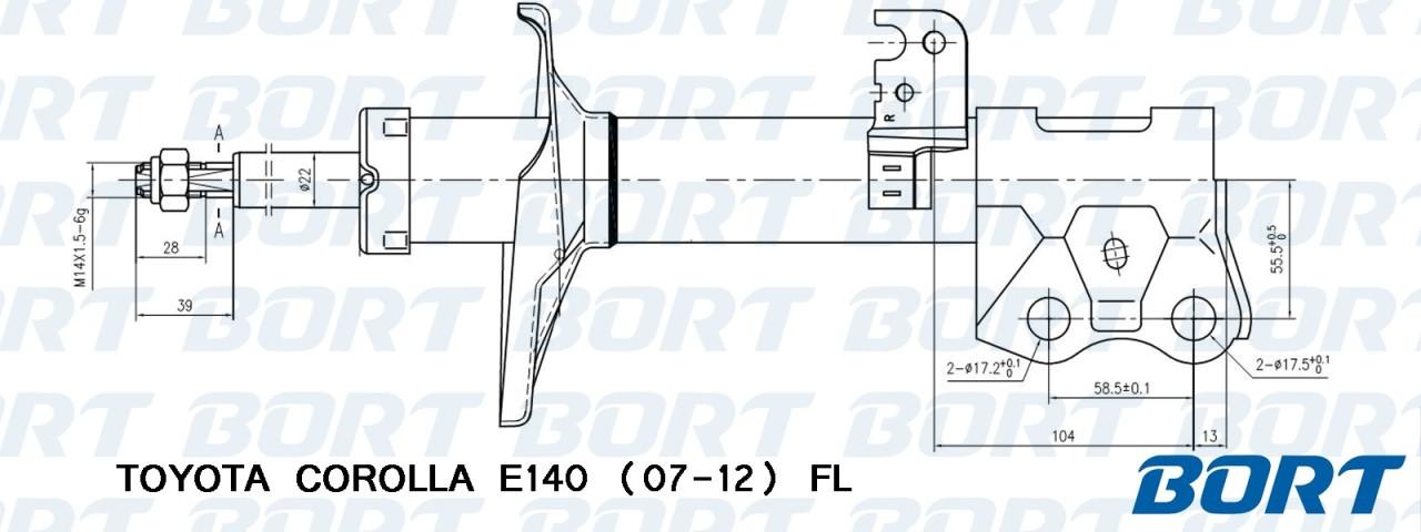 Стойка амортизационная газомасляная передняя левая. BORT (G22250146L)