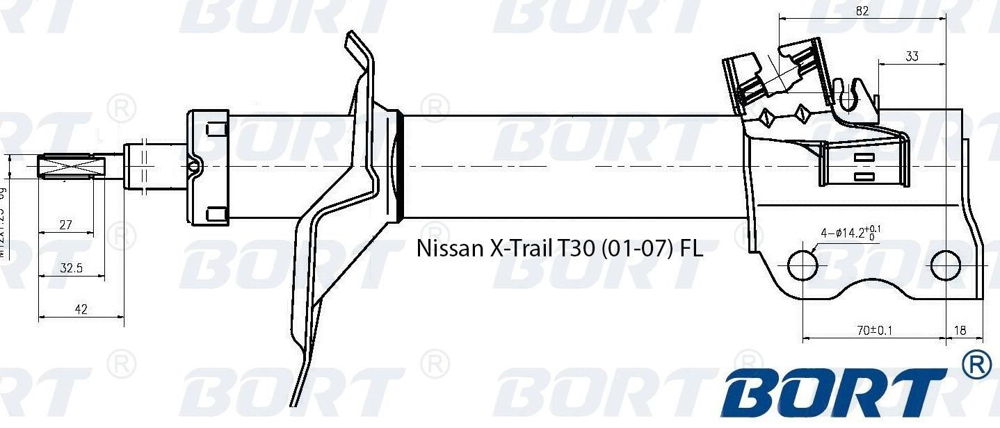 Стойка амортизатора передняя газомаслянная. BORT (G22250148L)