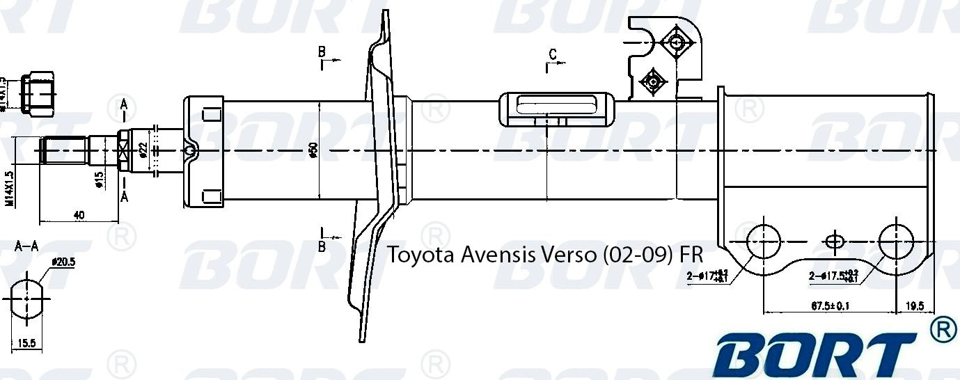 Стойка амортизационная газомасляная передняя правая. BORT (G22250168R)