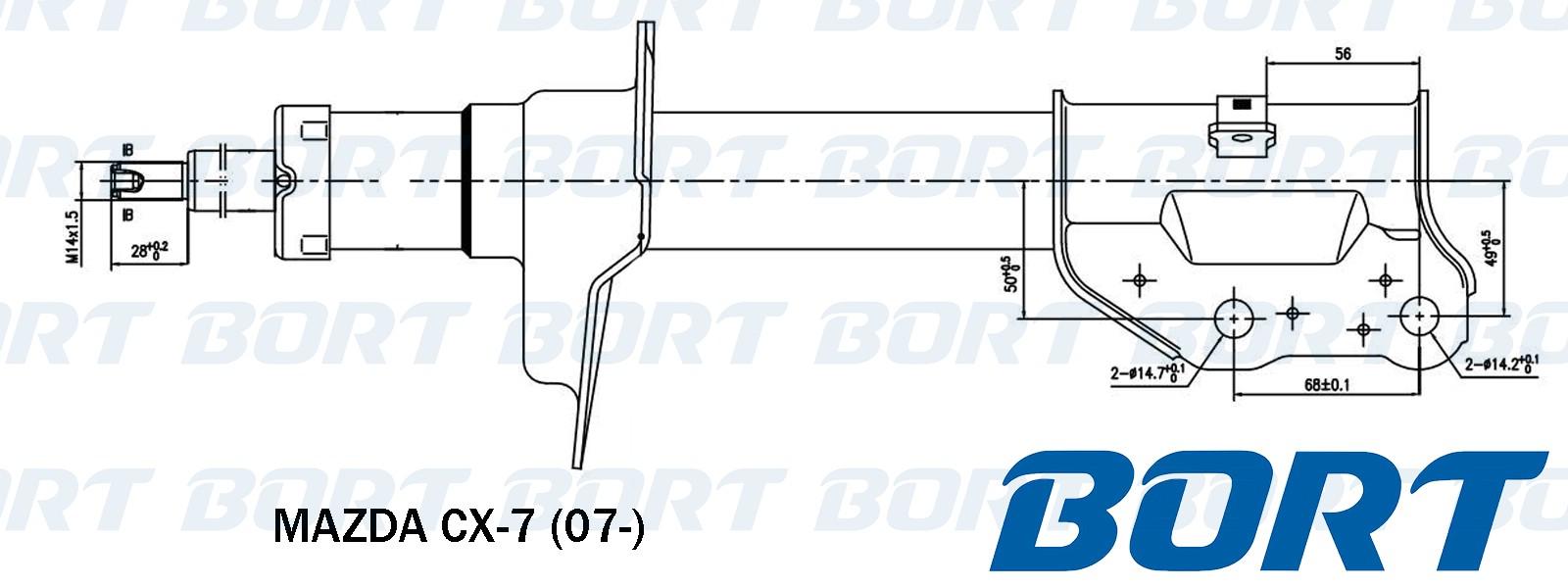 Стойка амортизатора передняя левая газомаслянная. BORT (G22250255L)