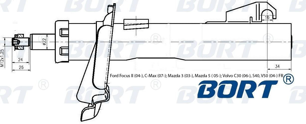 Стойка амортизационная газомасляная передняя правая. BORT (G22252005R)