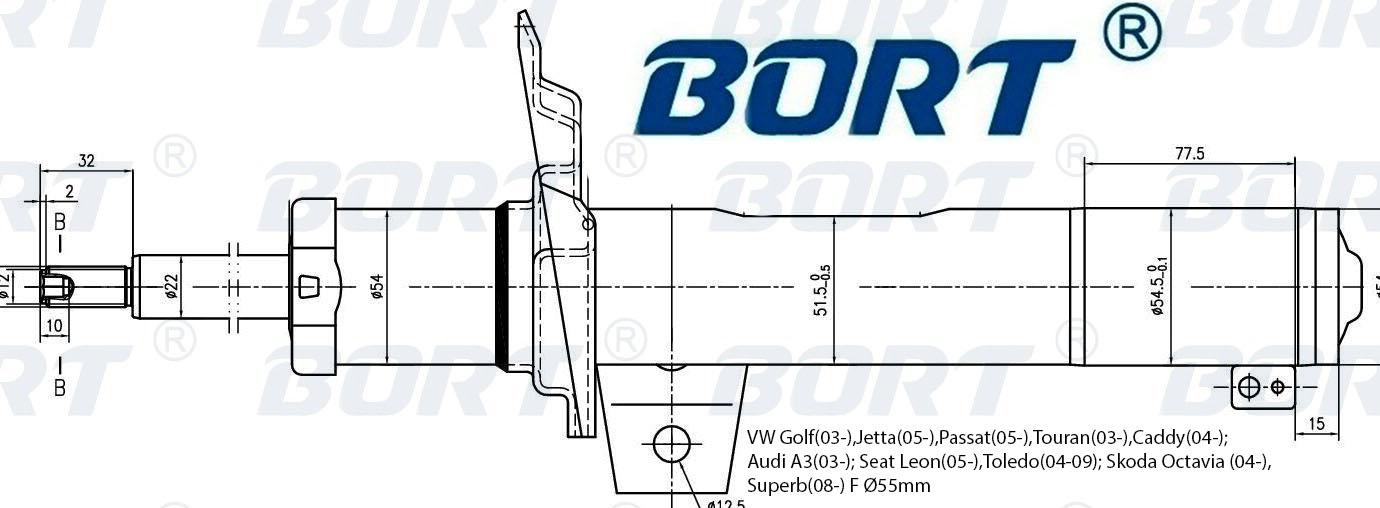 Стойка амортизатора передняя газомаслянная. BORT (G22254028)