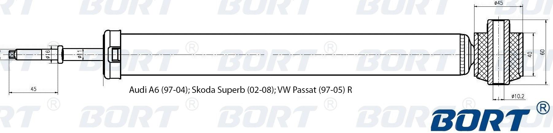 Амортизатор газомасляный задний. BORT (G41138004)