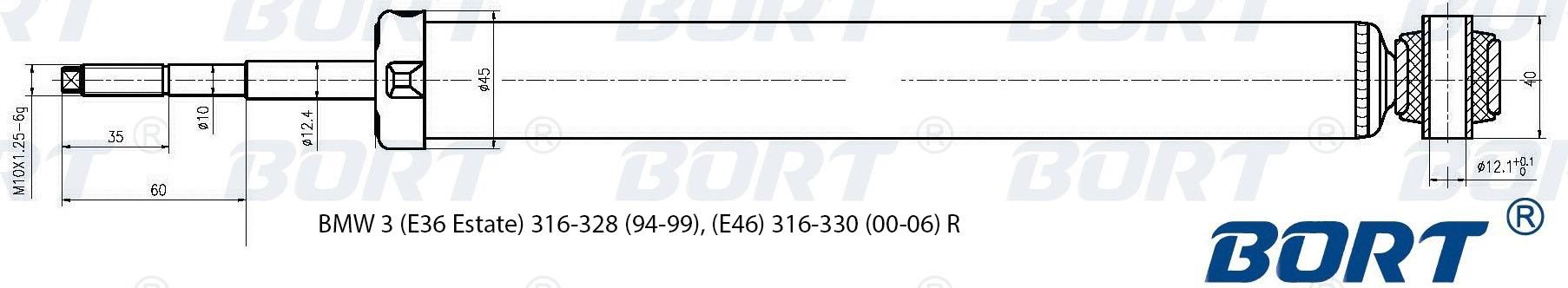 Амортизатор газомасляный задний. BORT (G41238083)