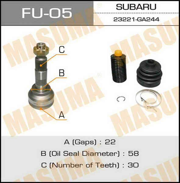 ШРУС  Masuma  22x58x30 (1/6). (FU-05)