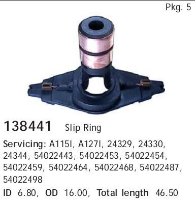 Кольцо контактное ротора генератора. CARGO (138441)