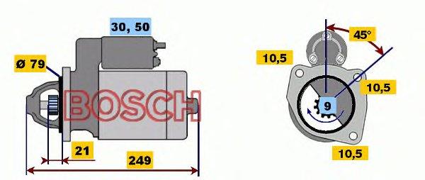 СТАРТЕР 12 V, 2 KW Газель 2.4 TD, двиг.Andoria 4CTi90-1. Bosch (0001109046)