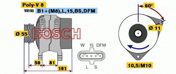 ГЕНЕРАТОР 28V, 70A IVECO. Bosch (0124555005)