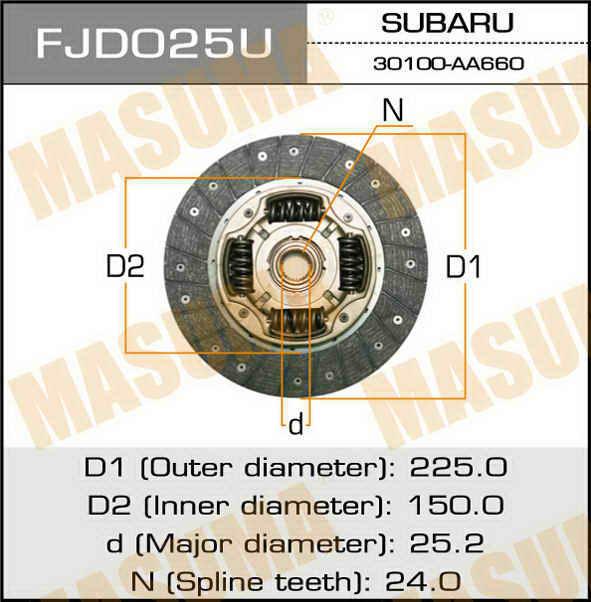 Диск сцепления  Masuma  225*150*24*25.2 (1/10). (FJD025U)