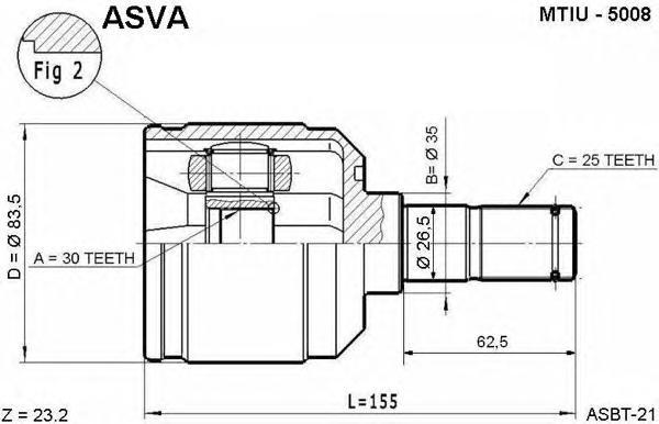 ШРУС внутренний 30x35x25. ASVA (MTIU5008)