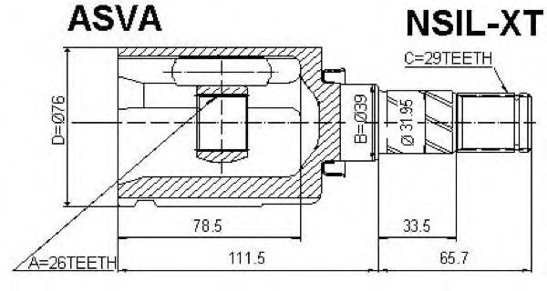 ШРУС внутренний левый 24x39x29. ASVA (NSIL-XT)