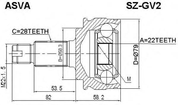 ШРУС наружный 22x58.3x28. ASVA (SZ-GV2)