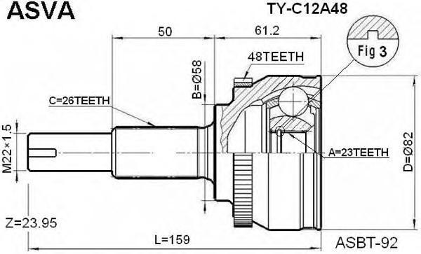 ШРУС наружный 23x58x26. ASVA (TYC12A48)