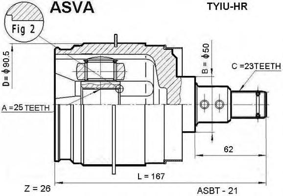 Шрус TYIU-HR внутренний левый 25х50х23 (43040-48010). ASVA