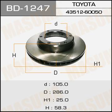 Диск тормозной MASUMA front LAND CRUISER/ FJ80L (упаковка 2 шт). (BD-1247)