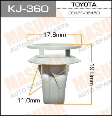 Клипса крепежная  Masuma  360-KJ (уп.50шт). (KJ-360)