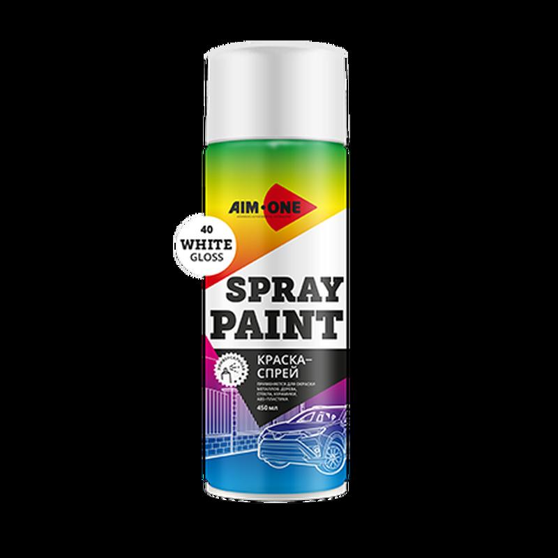 Краска-спрей белая глянцевая AIM-ONE 450 мл (аэрозоль).Spray paint white gloss 450ML SP-GB40